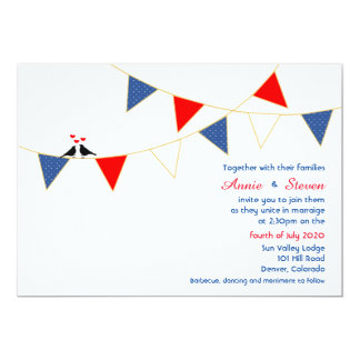 Red White Blue America Bunting Wedding Invitation
