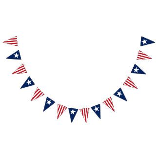 Red White Blue America Stars and Stripes Patriotic Bunting Flags