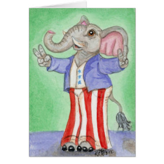 Red White & Blue American Elephant Art Card