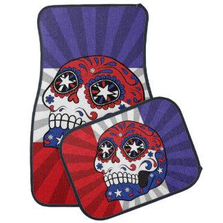 Red White Blue American Flag Patriotic Sugar Skull Car Carpet