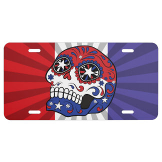 Red White Blue American Flag Patriotic Sugar Skull License Plate