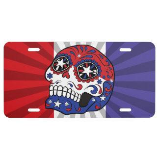 Red White Blue American Flag Patriotic Sugar Skull License Plate