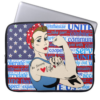 Red, White & Blue American Flag Patriotic Woman Laptop Sleeve
