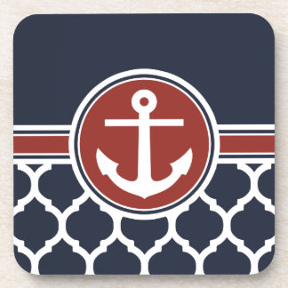 Red White Blue Anchor Moroccan Lattice Beverage Coaster