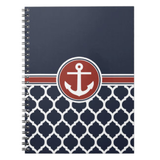 Red White Blue Anchor Moroccan Lattice Notebooks