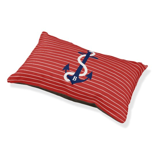 Red White Blue Anchor Nautical Monogram Pet Bed