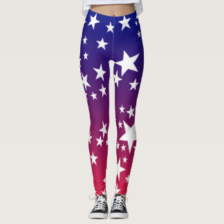 Red White Blue and Stars Patriotic Leggings