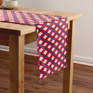 Red,white,blue Argyle 1-COTTON TABLE RUNNER 14x72