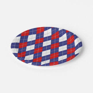 Red,White,Blue Argyle 2-PAPER PLATES 7 Inch Paper Plate