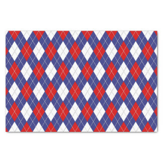 Red White Blue Argyle 2-TISSUE WRAPPING PAPER