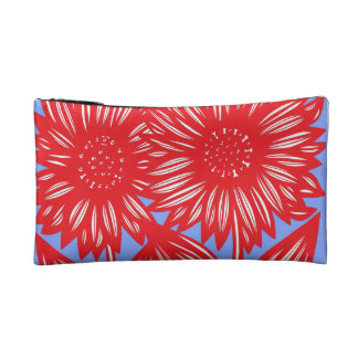 Red White Blue Big Flowers Makeup Bag