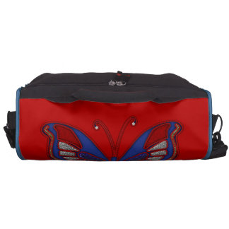 Red White Blue Butterfly-Red Commuter Laptop Bag