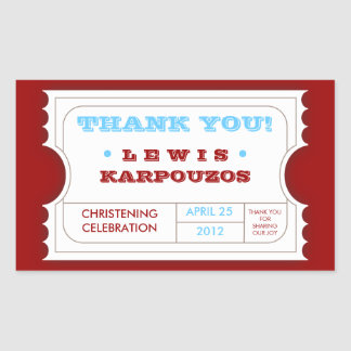 Red White Blue Carnival Thank You Ticket Sticker