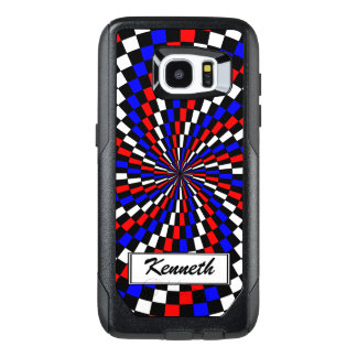 Red White Blue Checker Spiral by Kenneth Yoncich