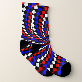 Red White Blue Checker Spiral by Kenneth Yoncich 1