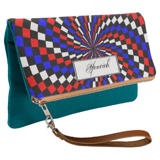 Red White Blue Checker Spiral by Kenneth Yoncich Clutch