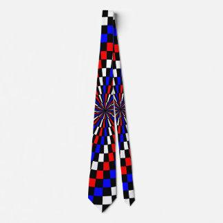 Red White Blue Checker Spiral Tie