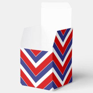 Red,White,Blue Chevron 1-PARTY FAVOR BOX,sq Favor Boxes