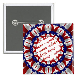 Red, White & Blue  Circle  Photo Frame 2 Inch Square Button