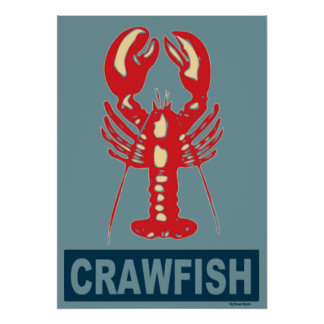 Red White Blue Crawfish Poster