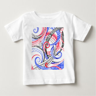 Red White Blue Curley Zen Doodle Design Baby T-Shirt