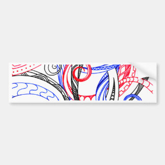 Red White Blue Curley Zen Doodle Design Bumper Sticker