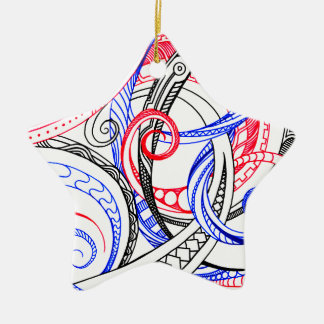 Red White Blue Curley Zen Doodle Design Ceramic Star Ornament