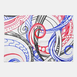 Red White Blue Curley Zen Doodle Design Kitchen Towel