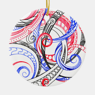 Red White Blue Curley Zen Doodle Design Round Ceramic Ornament