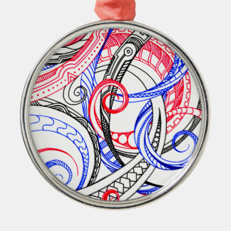 Red White Blue Curley Zen Doodle Design Silver-Colored Round Ornament