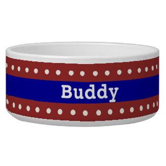 Red, White, & Blue Custom Dog Bowl