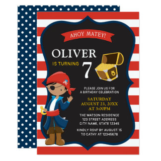 Red White Blue Dark Pirate Boy Birthday Invitation