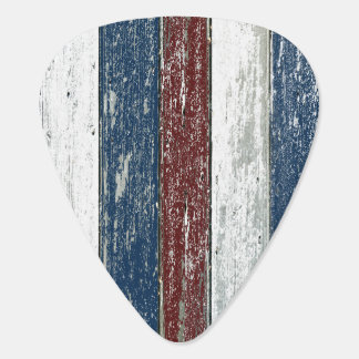 Red White Blue Driftwood Guitar Pick
