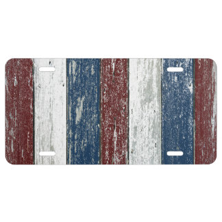 Red White Blue Driftwood License Plate