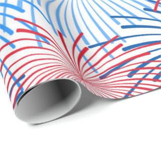 red white blue fireworks Patriotic party wrap Wrapping Paper