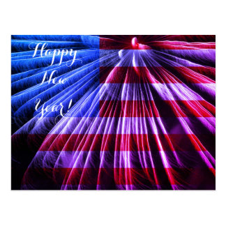 Red White & Blue Flag Fireworks Happy New Year USA Postcard
