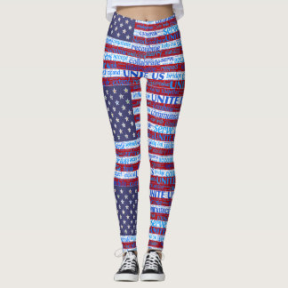 Red White & Blue Flag Patriotic Leggings