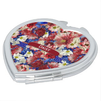 Red White Blue Flora Ribbon Compact Mirrors
