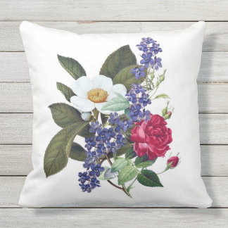 Red, White, Blue Floral Botanical Art Pillow