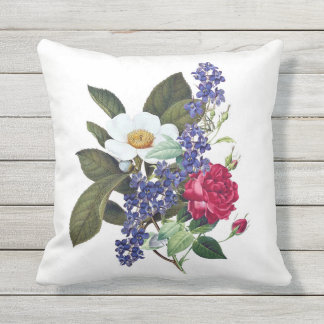 Red, White, Blue Floral Outdoor Pillow 16x16