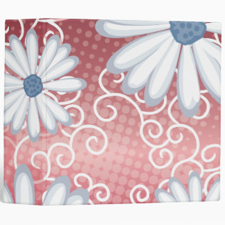 Red White Blue Floral Tribal Daisy Tattoo Pattern Vinyl Binders