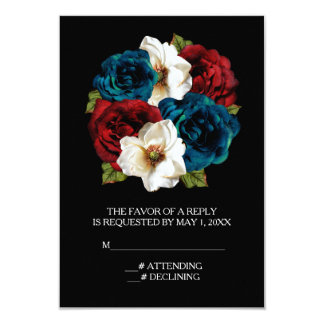 """Red White Blue Floral Wedding 3.5"""" X 5"""" Invitation Card"""