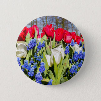 Red white blue flowers in spring season 2 inch round button