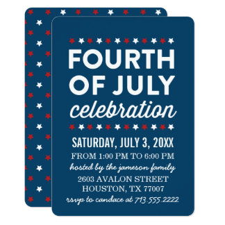Red White Blue Fourth of July Celebration Invite