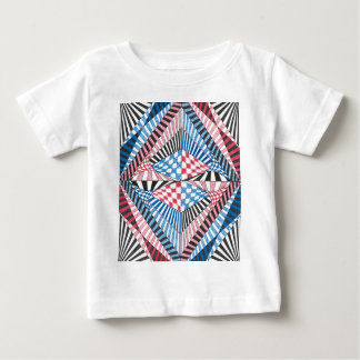 Red, White, Blue Geometric Abstract Zen Doodle Art Baby T-Shirt