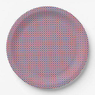 Red,White,Blue Gingham-PAPER PARTY PLATES 9 Inch Paper Plate