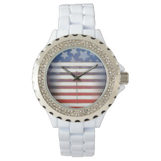 Red White Blue & Gold Stars & Stripes Watch