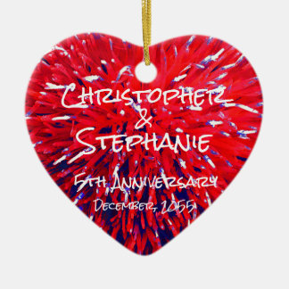 Red White Blue Heart Anniversary Christmas Ceramic Ornament