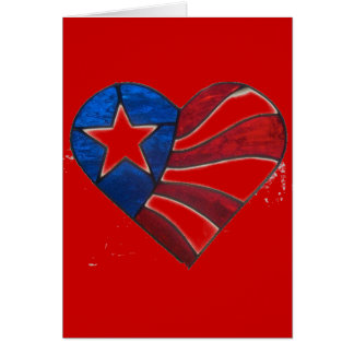 RED WHITE & BLUE HEART CARD