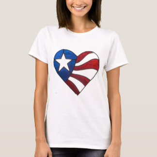 RED WHITE & BLUE HEART T-Shirt